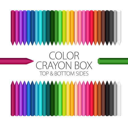Full Color Crayon Box Vector Set with top and bottom sides Illustration