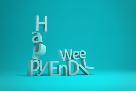 disaster relief: Happy Weekend Word Letters collapsing isolated on turquoise background, 3D Render Illustration