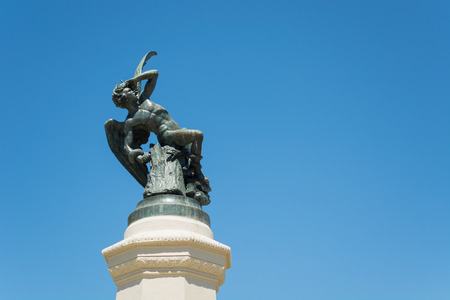 Fountain of the Fallen Angel or Monument to the Devil, Detail - Park of the Pleasant Retreat, Madrid, Spain