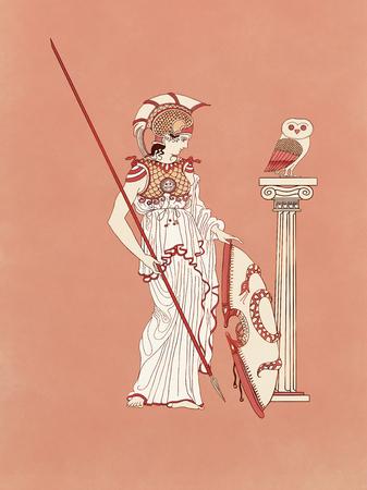 Atenea, diosa y protectora de Atenas como guerrera armada con escudo, lanza, cofre y casco de plumas junto a un búho - Inspirada en la antigua cerámica clásica griega y en los dibujos en cerámica de figuras rojas Foto de archivo - 91238687