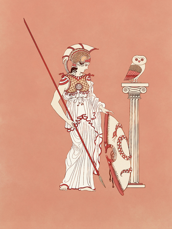 Athena, goddess and Athens protector as warrior armed with shield, spear, chest and feather helmet beside an owl - Inspired on ancient classic greek pottery and ceramics red-figure drawings