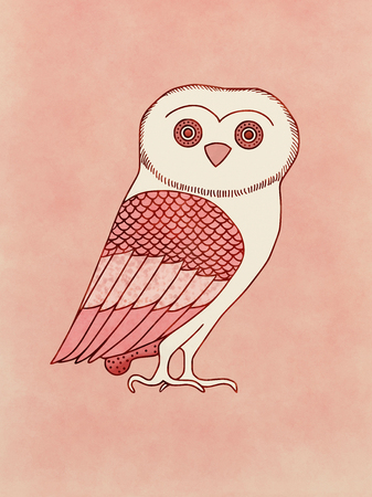 Cute Owl, symbol of Athena, goddess and Athens protector