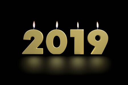 2019 New Years Golden Lighten Up Candles 3D Render Illustration Isolated on Black Background With Floor Reflexion Фото со стока