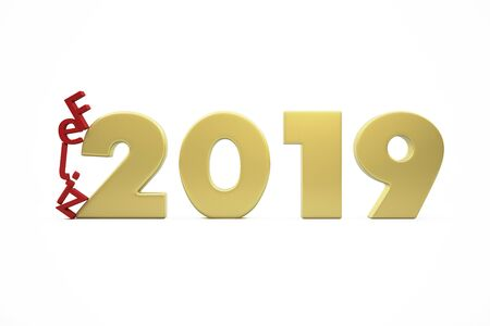 New Years Happy 2019 - Golden Figures and Red Letters Collapsing - 3D Render Illustration Isolated on White Background - Words in Spanish