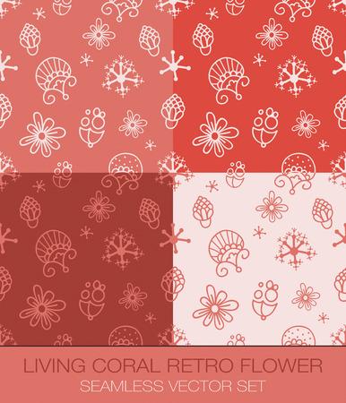 Living Coral Retro Flower Seamless Pattern Vector Set