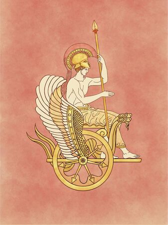 Ares (Mars), god of the war and warrior, armed with his feather helmet and spear sitting on a golden winged serpents chariot - Inspired on ancient classic greek pottery and ceramics red-figure drawing