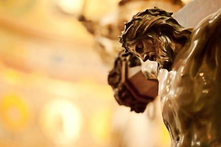cat�licismo: Primer plano de Jesucristo crucificado