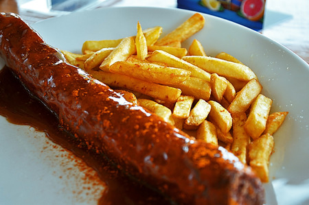 30 centimeter german currywurst with crunchy chips from a little town in Harz