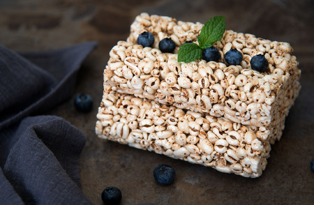 Grain rice cakes with blueberries for healthy breakfast. Healthy snack