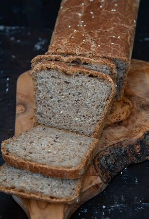Homemade whole grain bread with with seeds.