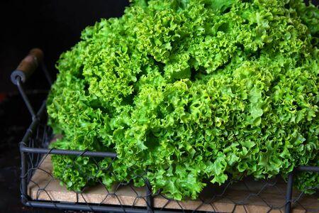 Fresh green lettuce on wooden tray on black background. Stockfoto