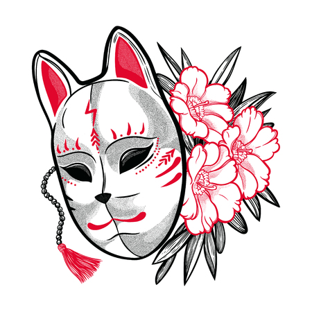 A Japanese fox mask with flowers