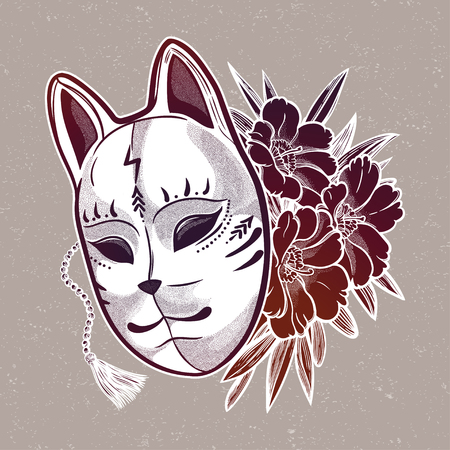 Japanese fox mask with flowers