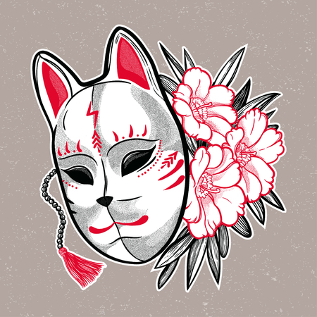 Hand drawn beautiful artwork a mask with spring flowers. Magic, spirituality, occultism, tattoo art. Isolated vector illustration. Japanese demon. Illustration