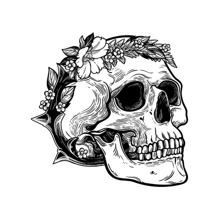 Romantic skull with wreath of flowers and thorns.