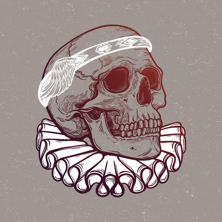 Skull with elegant diadem. Illustration