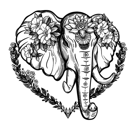 Decorative elephant with flowers design Çizim