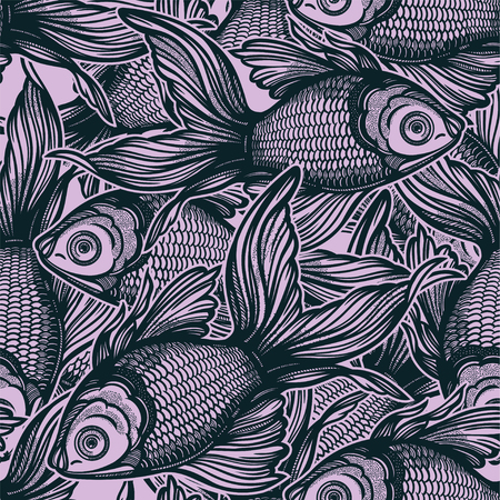 Linear seamless pattern with hand drawn decorative goldfish, design background. Aquarium tile for pet lovers, greeting cards, wallpapers, scrapbooking, print, gift wrap.