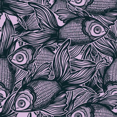 Modèle sans couture linéaire avec poisson rouge décoratif dessiné à la main, arrière-plan de conception. Tuile d'aquarium pour les amoureux des animaux, cartes de voeux, papiers peints, scrapbooking, impression, emballage cadeau.