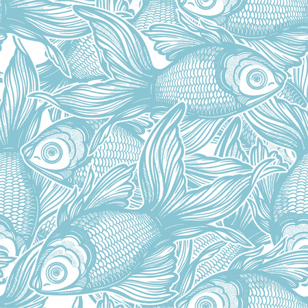 Linear seamless pattern with hand drawn decorative goldfish, design background. Aquarium tile for pet lovers, greeting cards, wallpapers, scrapbooking, print, gift wrap. Illustration