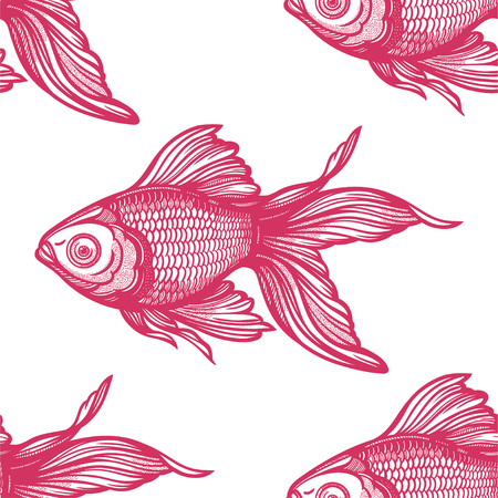 Linear seamless pattern with hand drawn decorative goldfish, design background. Aquarium tile for pet lovers, greeting cards, wallpapers, scrapbooking, print, gift wrap. Ilustración de vector