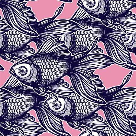 Patrón transparente lineal con peces de colores decorativos dibujados a mano, diseño de fondo. Azulejo de acuario para amantes de las mascotas, tarjetas de felicitación, fondos de pantalla, álbumes de recortes, impresión, papel de regalo. Ilustración de vector