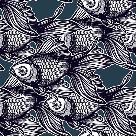 Patrón transparente lineal con peces de colores decorativos dibujados a mano, diseño de fondo. Azulejo de acuario para amantes de las mascotas, tarjetas de felicitación, fondos de pantalla, álbumes de recortes, impresión, papel de regalo.