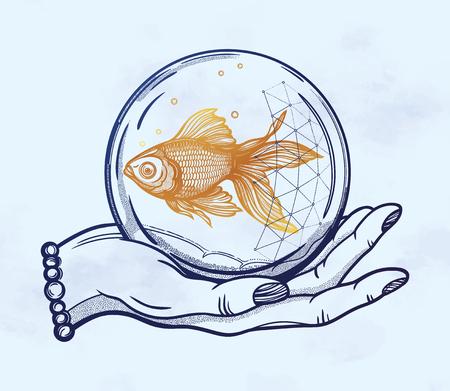 Mano de flash de tatuaje tradicional con peces de colores en una burbuja de agua. Arte inspirado en estilo vintage. Ilustración de vector aislado. Diseño de tatuaje, símbolo romántico de esperanza de moda, suerte para su uso.