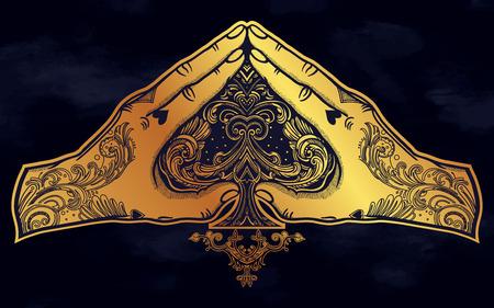 Gesto della mano a forma di cuore con un asso di picche. Le mani sono tatuate. Illustrazione vettoriale isolata. Disegno del tatuaggio, simbolo di fortuna alla moda per il tuo uso.