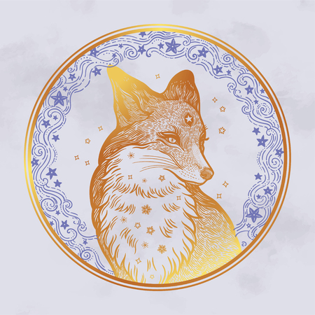 Fox on the background of the moon and stars.