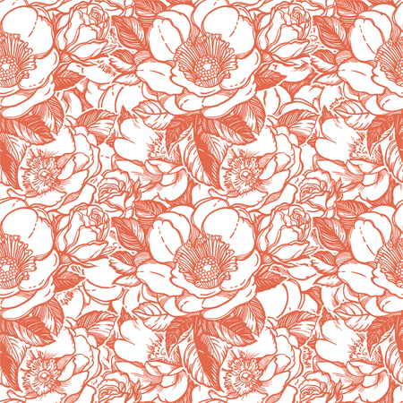Vector seamless pattern with peony flowers, retro background. Romantic design for natural wallpaper, wrapping, wedding products. Can be used as greeting card. Vector Illustration