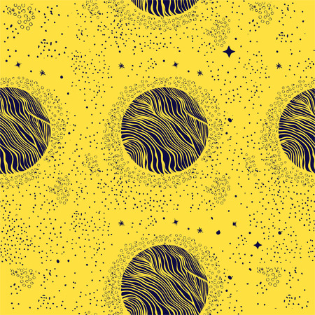 Seamless pattern with planets and shiny stars.