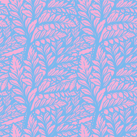 Tropical palm or fern leaves background. Abstract background seamless pattern. Ideal for textiles. Illustration