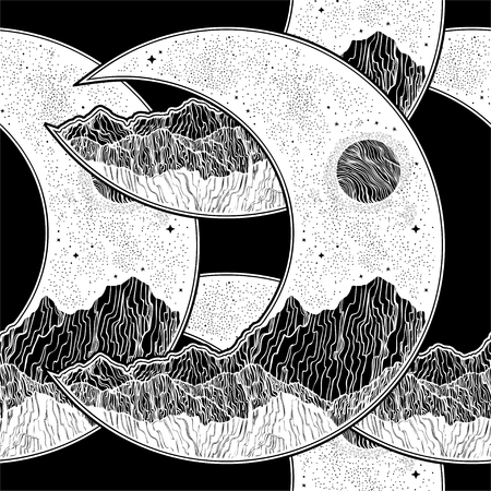 Seamless pattern with planet moon crescent mountains and shiny stars. Dark sky at night space landscape. Cosmos, Astronomy and Space background. Detailed vector tile.