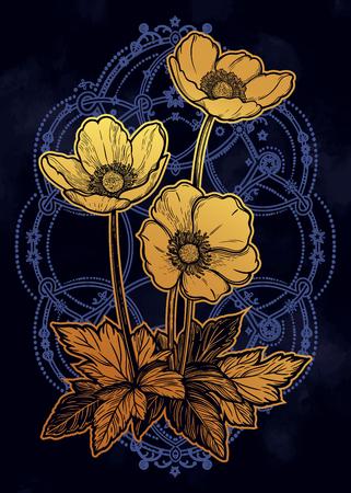 Beautiful flowers. Isolated vintage style vector illustration.