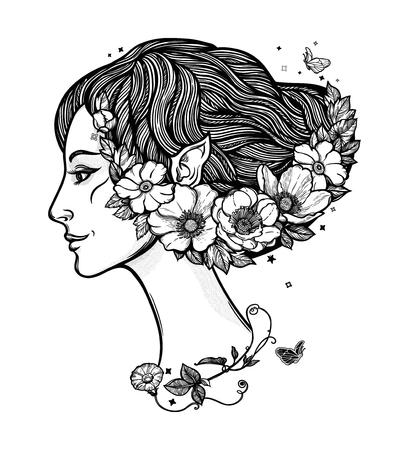 Portret de jeune fille sorcière avec des fleurs. Nymphe magique de la forêt, personnage mystérieux des contes de fées. Illustration vectorielle isolée.