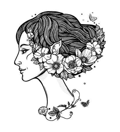 Portret of young girl witch with flowers. Magic forest nymph, mysterious character from fairy tales. Isolated vector illustration. 写真素材 - 125229826