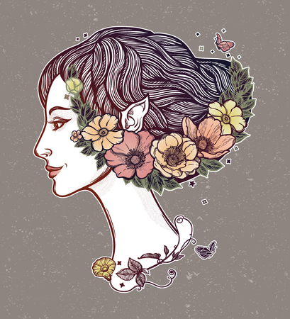 Portret of young girl witch with flowers. Magic forest nymph, mysterious character from fairy tales. Isolated vector illustration. 写真素材 - 125179090
