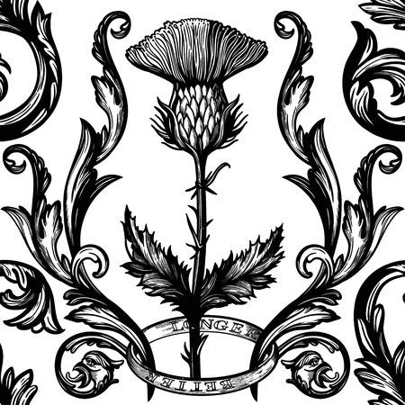 Bellissimo ornamento damascato bohémien senza cuciture con fiore di cardo.
