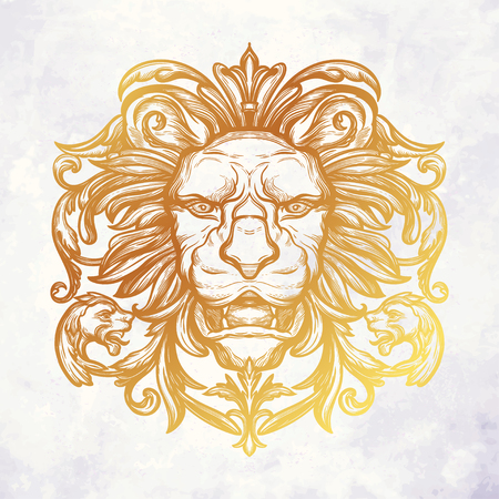 Head of Lion. Isolated vector illustration. Vettoriali