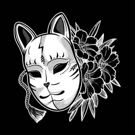 Japanese mask fox with flowers. Isolated vector art. Print on poster, card, sticker, T-shirt. Иллюстрация