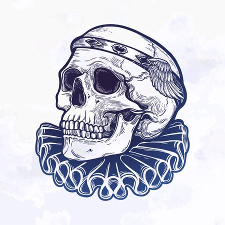 Beautiful romantic skull with elegant diadem. Ink on aged card vintage background. Tattoo vintage design element. Vector illustration.
