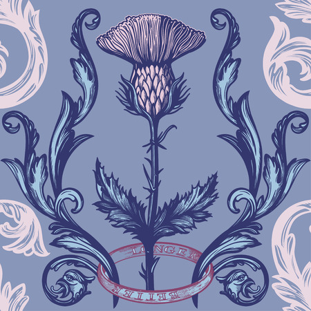 Beautiful bohemian damask seamless ornament with thistle flower. Vecteurs