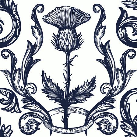 Bel ornement sans couture de damassé bohème avec fleur de chardon.