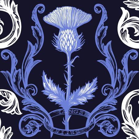 Beautiful bohemian damask seamless ornament with thistle flower. Vektorové ilustrace