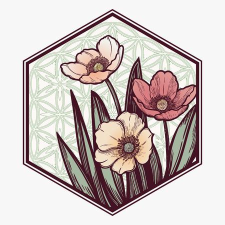 Hand drawn illustration Tulips flower. Idea for visit card, typography vector,print for t-shirt. Иллюстрация