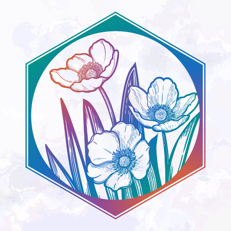 Hand drawn illustration Tulips flower in geometryc frame. Idea for visit card, typography vector,print for t-shirt.