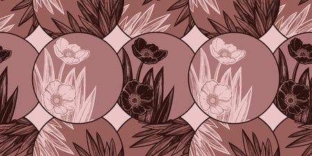 Tulip or Anemon flower composition in circle seamless pattern. Elegant floral blossom background, romantic decoration. Botanical vector isolated tile. Иллюстрация