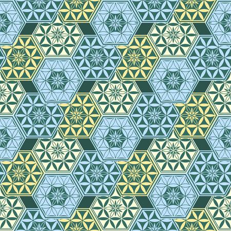 Modello senza cuciture esagonale geometrico astratto. Illustrazione di vettore. Carta da parati moderna di vettore, arte decorativa di vettore. Vettoriali