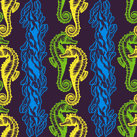 Beautiful seamless pattern with seahorses. Nautical style pattern. Vector texture for wallpapers, textile, fabric. Illustration